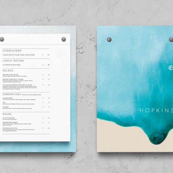 blue back of Hopkins menu and front of it