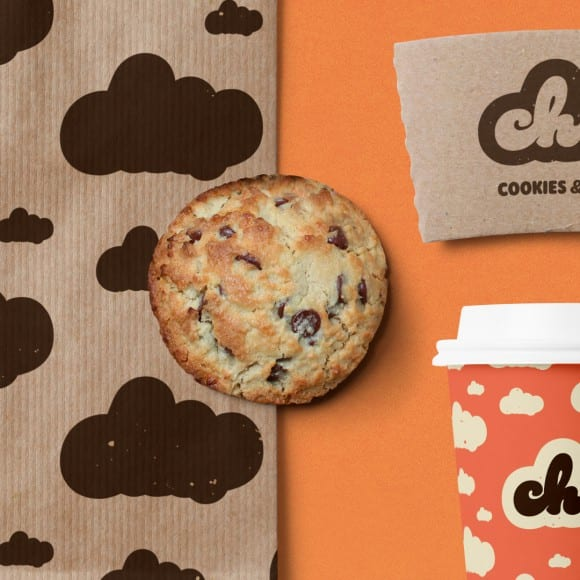 chip cookie on branded background
