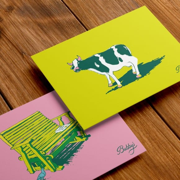 Bubby's brand cow post cards