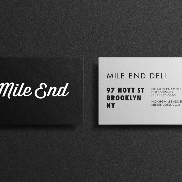 business cards for mile end deli