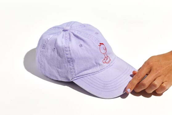 purple hat branded with lil sweet chic