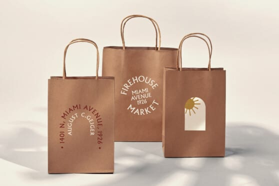 firehouse market brown paper bag graphic design
