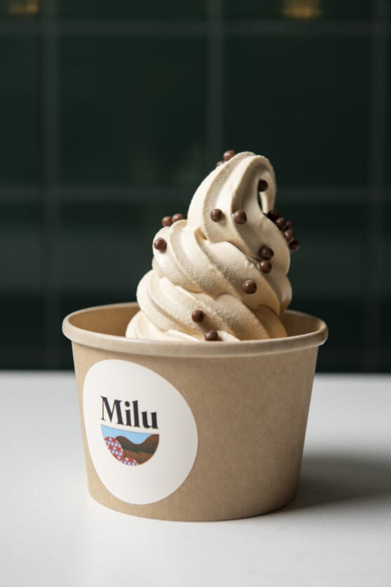 cup of ice cream branded for milu