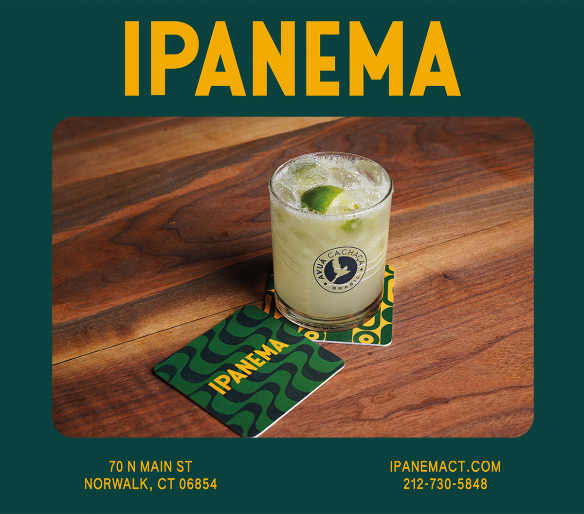 drink on table with ipanema branding