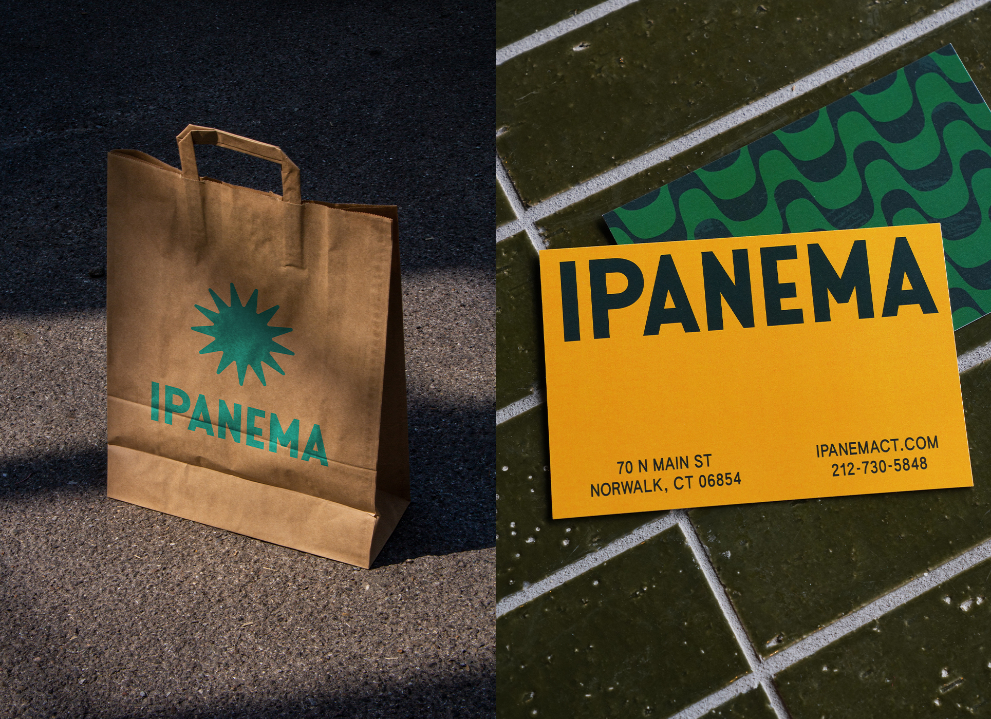 ipanema brown paper bag and business cards